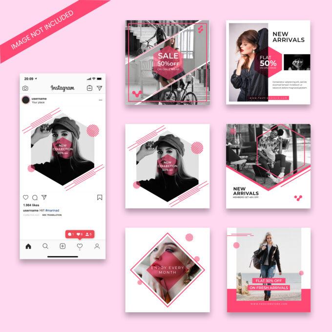 шаблоны для инстаграм розовые