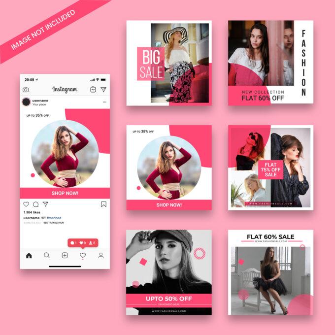 шаблоны инстаграм розовые